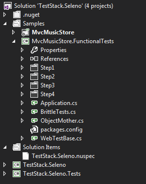 Screenshot of the solution structure with step folders