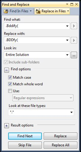 replace .Bddify( with .BDDfy(