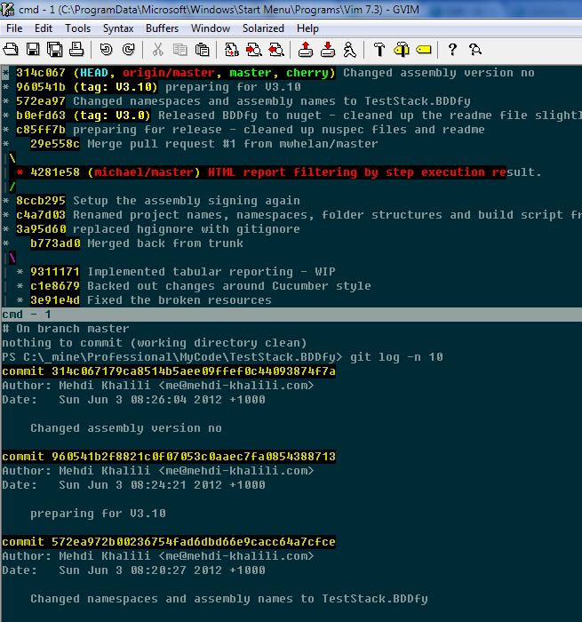 An experiment with Git, Vim and posh-git